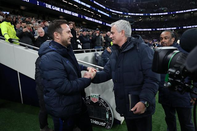 Mourinho and Lampard shake hands before kick-off (Photo by Tottenham Hotspur FC/Tottenham Hotspur FC via Getty Images)