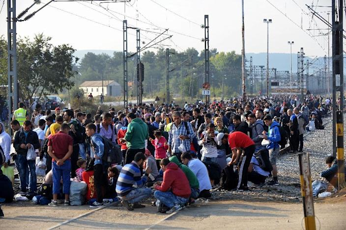 Migrants and refugees wait to cross the Greece-Macedonia border near the village of Idomeni, on September 14, 2015 (AFP Photo/)