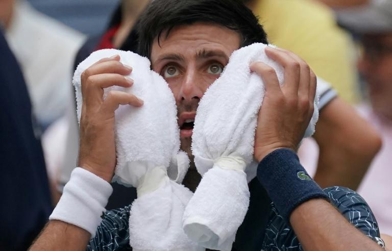 Hot work: Novak Djokovic towels off against Marton Fucsovics