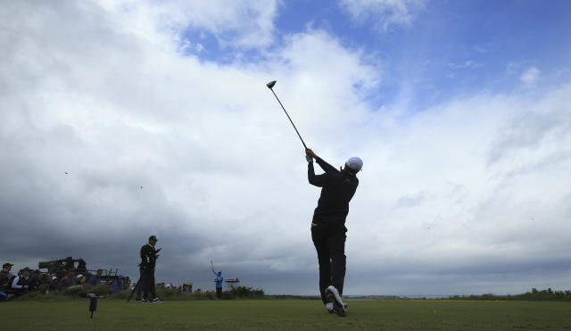 Jordan Spieth of the United States plays off the 5th tee during a practice round ahead of the start of the British Open golf championships at Royal Portrush in Northern Ireland, Wednesday, July 17, 2019. The British Open starts Thursday. (AP Photo/Jon Super)