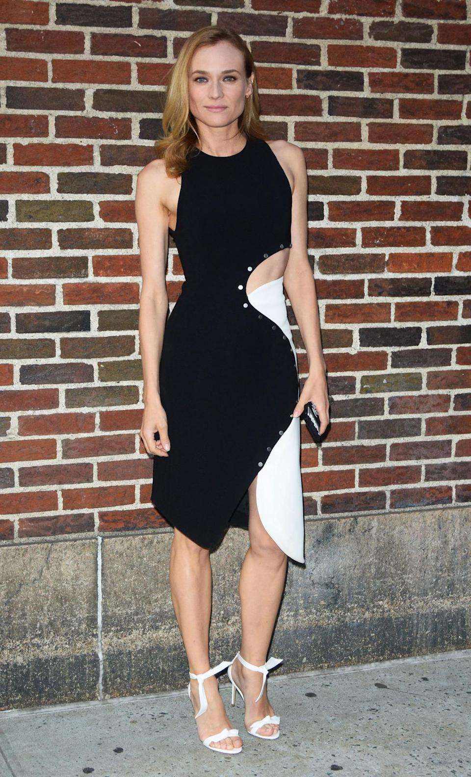 <p>We love this ying-yang inspired dress Diane Kruger wore while out and about in New York City. <i>(Photo by Patricia Schlein/Star Max/GC Images)</i></p>