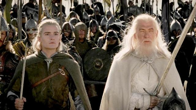 Orlando Bloom and Sir Ian McKellen in Lord of the Rings (Credit: New Line)