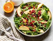 """<p>This gorgeous salad is a feast for the eyes with its ruby red pomegranate arils and green pistachios scattered on top. <a href=""""https://www.thedailymeal.com/cook/cooking-maple-syrup-8-recipes-slideshow?referrer=yahoo&category=beauty_food&include_utm=1&utm_medium=referral&utm_source=yahoo&utm_campaign=feed"""" rel=""""nofollow noopener"""" target=""""_blank"""" data-ylk=""""slk:Maple syrup"""" class=""""link rapid-noclick-resp"""">Maple syrup</a> and orange juice jazz up a mustard vinaigrette, while kale and apple bring texture and flavor to the mix. This could be a meal on its own, but it is a delightful side to pass at any holiday table.</p> <p><a href=""""https://www.thedailymeal.com/recipes/kale-and-apple-salad-maple-mustard-dressing-recipe?referrer=yahoo&category=beauty_food&include_utm=1&utm_medium=referral&utm_source=yahoo&utm_campaign=feed"""" rel=""""nofollow noopener"""" target=""""_blank"""" data-ylk=""""slk:For the Kale and Apple Salad with Maple Mustard Dressing recipe, click here."""" class=""""link rapid-noclick-resp"""">For the Kale and Apple Salad with Maple Mustard Dressing recipe, click here.</a></p>"""