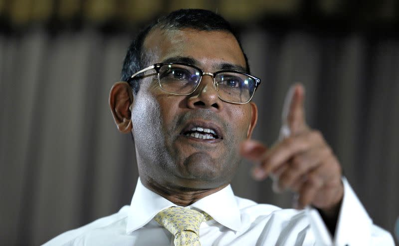 Maldives former President Nasheed speaks during a news conference ahead of the Maldives presidential election, in Colombo