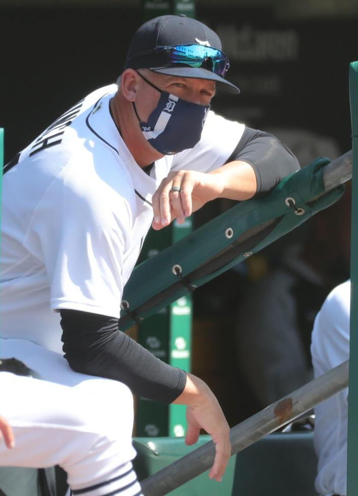 Detroit Tigers manager AJ Hinch in the dugout during the first inning against the Cleveland Indians, Sunday, April 4, 2021 at Comerica Park.