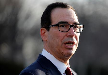 U.S. Treasury Secretary Steven Mnuchin speaks to the media at the White House in Washington
