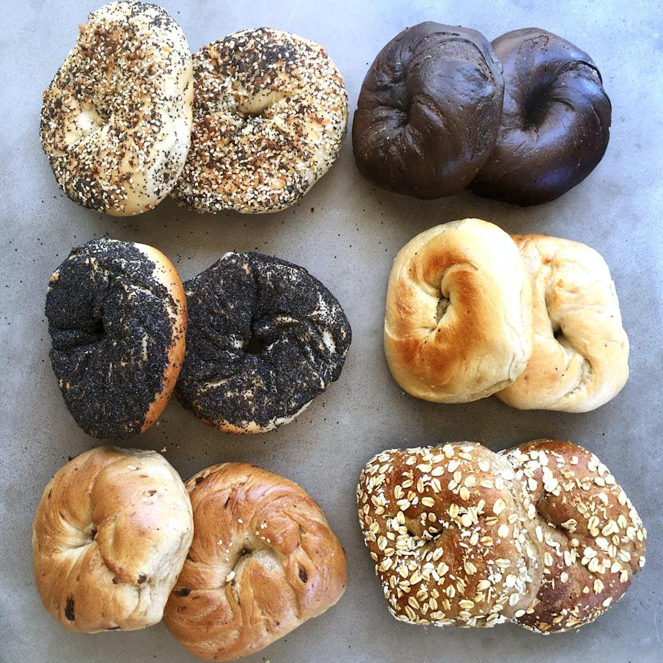 "For nearly half a century, Ess-a-Bagel has been turning out some of the most decadent, chewy, soft bagels in New York City. And thanks to GoldBelly, you can have them shipped overnight for the perfect lox brunch or afternoon snack. You can even order in bulk and defrost them when needed. (Here's a tip: wrap a damp paper towel around the bagel, place it on defrost in your microwave for a couple minutes, then cut it in half and toast it in the oven. It will taste exactly the same). $60, Goldbelly. <a href=""https://www.goldbelly.com/ess-a-bagel/essa-bagel-bakers-dozen-cream-cheese-buy-1-get-1-free"" rel=""nofollow noopener"" target=""_blank"" data-ylk=""slk:Get it now!"" class=""link rapid-noclick-resp"">Get it now!</a>"