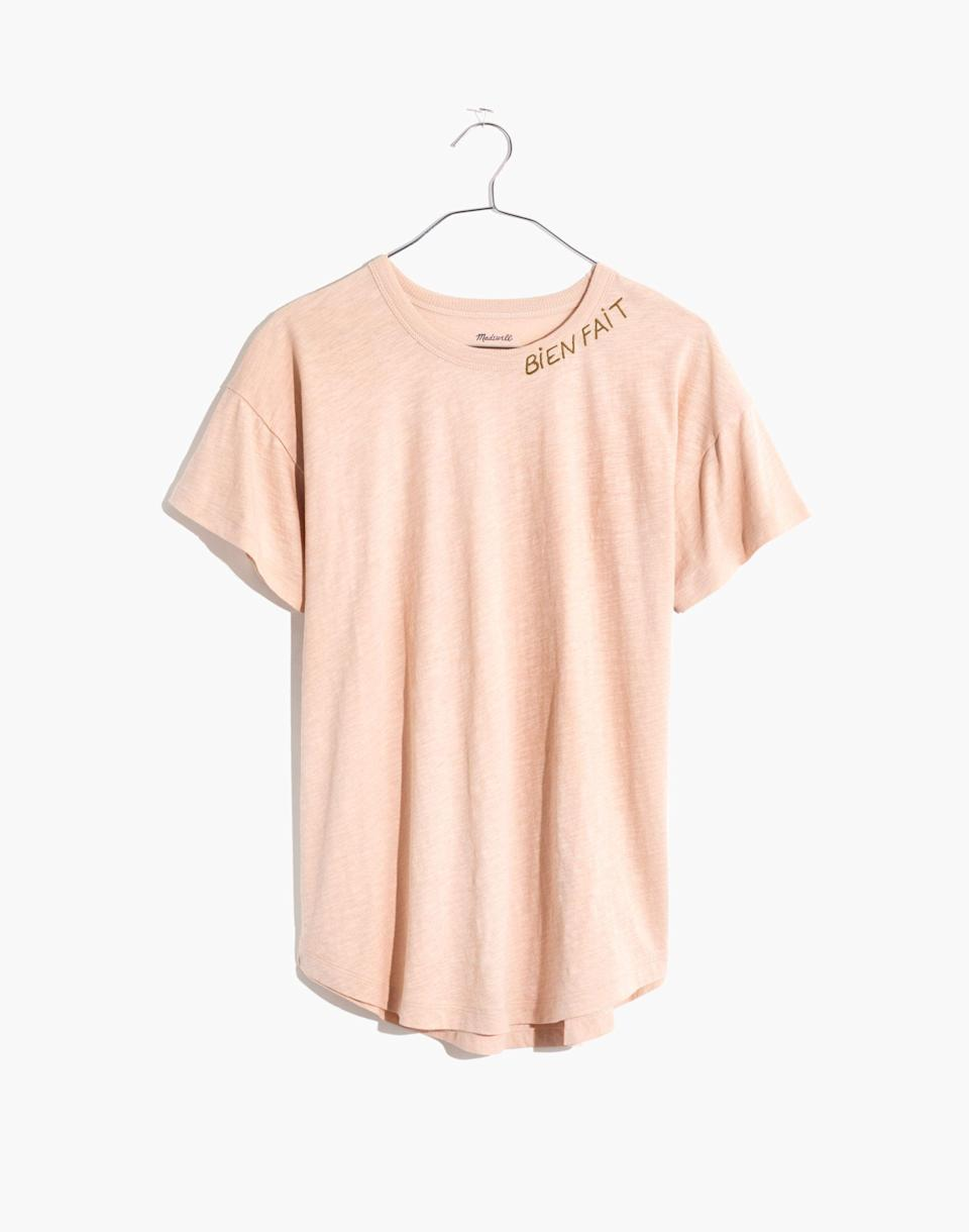 """<p><strong>Madewell</strong></p><p>madewell.com</p><p><a href=""""https://go.redirectingat.com?id=74968X1596630&url=https%3A%2F%2Fwww.madewell.com%2Fbien-fait-embroidered-whisper-cotton-rib-crewneck-tee-MD033.html&sref=https%3A%2F%2Fwww.cosmopolitan.com%2Fstyle-beauty%2Ffashion%2Fg36065935%2Fmadewell-spring-sale-2021%2F"""" rel=""""nofollow noopener"""" target=""""_blank"""" data-ylk=""""slk:SHOP NOW"""" class=""""link rapid-noclick-resp"""">SHOP NOW</a></p><p><strong><del>$30</del> $17 (43% off)</strong></p><p>This T-shirt will play nicely with most jeans in your closet. </p>"""