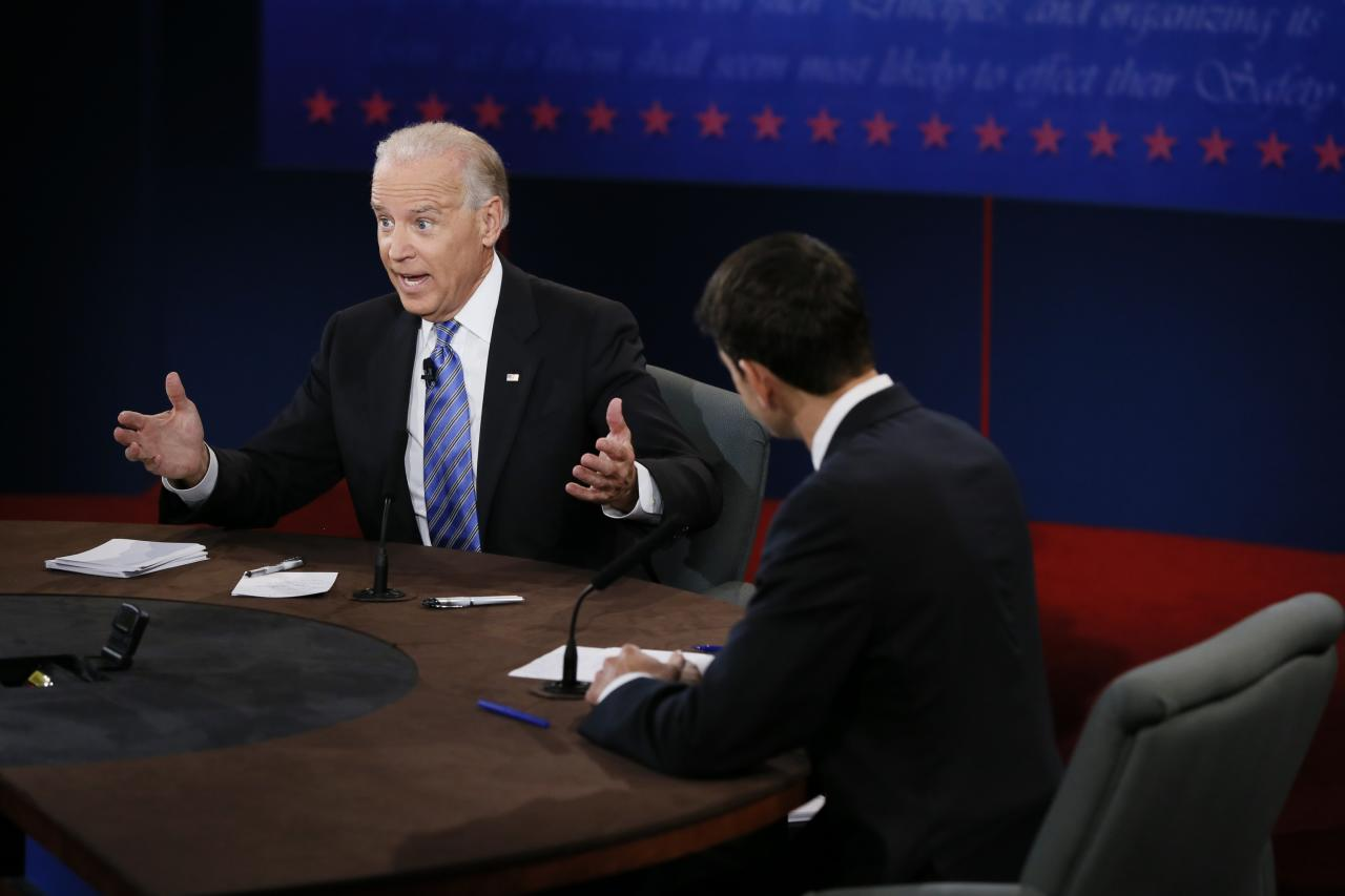DANVILLE, KY - OCTOBER 11:  U.S. Vice President Joe Biden (L) and Republican vice presidential candidate U.S. Rep. Paul Ryan (R-WI) participate in the vice presidential debate at Centre College on October 11, 2012 in Danville, Kentucky. This is the second of four debates during the presidential election season and the only debate between the vice presidential candidates before the closely-contested election November 6.  (Photo by Rick Wilking-Pool/Getty Images)