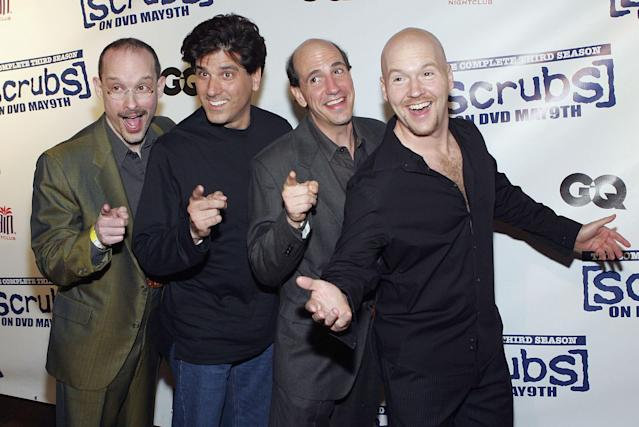 Sam Lloyd, second from right, appears with his a cappella group, The Blanks, featuring, from left, Paul F. Perry, George Miserlis and Philip McNiven, at the <em>Scrubs</em> wrap party April 27, 2006, in Las Vegas. (Photo: Ethan Miller/Getty Images)