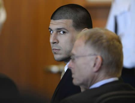 Former NFL player Aaron Hernandez attends hearing in Bristol County Superior Court in Fall River, Massachusetts