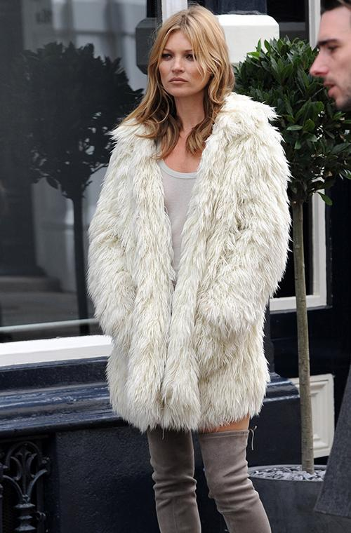 2. Faux fur coats<br> With winter well and truly here, faux fur coats are the perfect way to keep you snug throughout those bitterly cold days and nights. Kate Moss is often seen pairing her faux fur coat with thigh-high boots and a mini dress, perfect for taking your look from day-to-night.