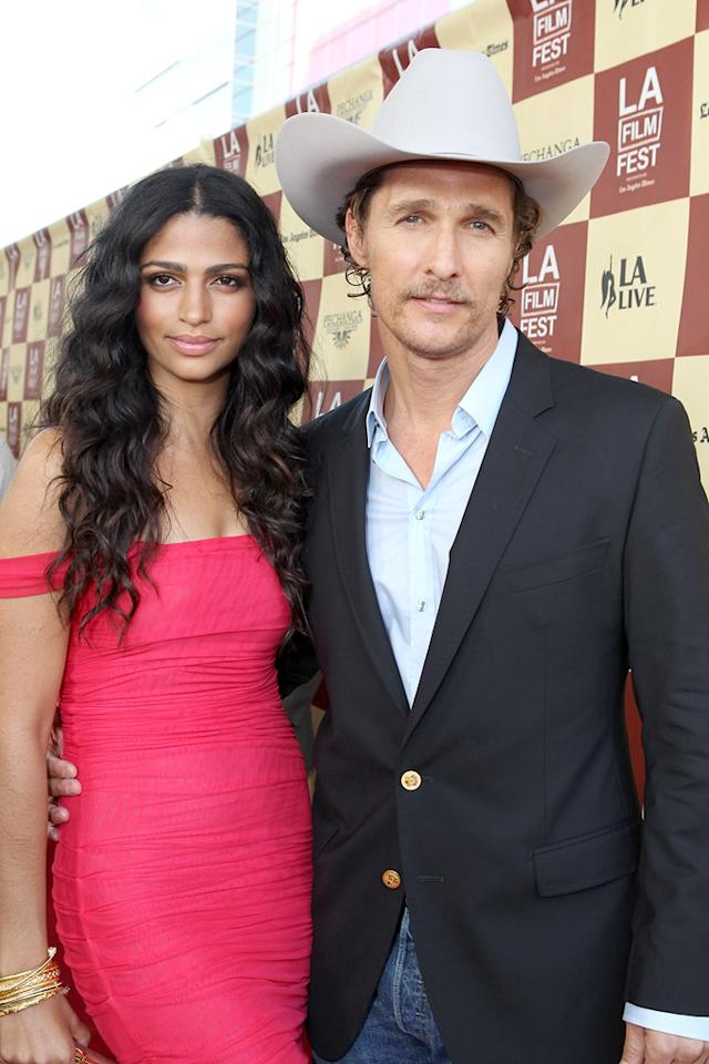 """Camilla Alves and <a href=""""http://movies.yahoo.com/movie/contributor/1800018907"""">Matthew McConaughey</a> at the Los Angeles Film Festival premiere of <a href=""""http://movies.yahoo.com/movie/1810171864/info"""">Bernie</a> on June 16, 2011."""