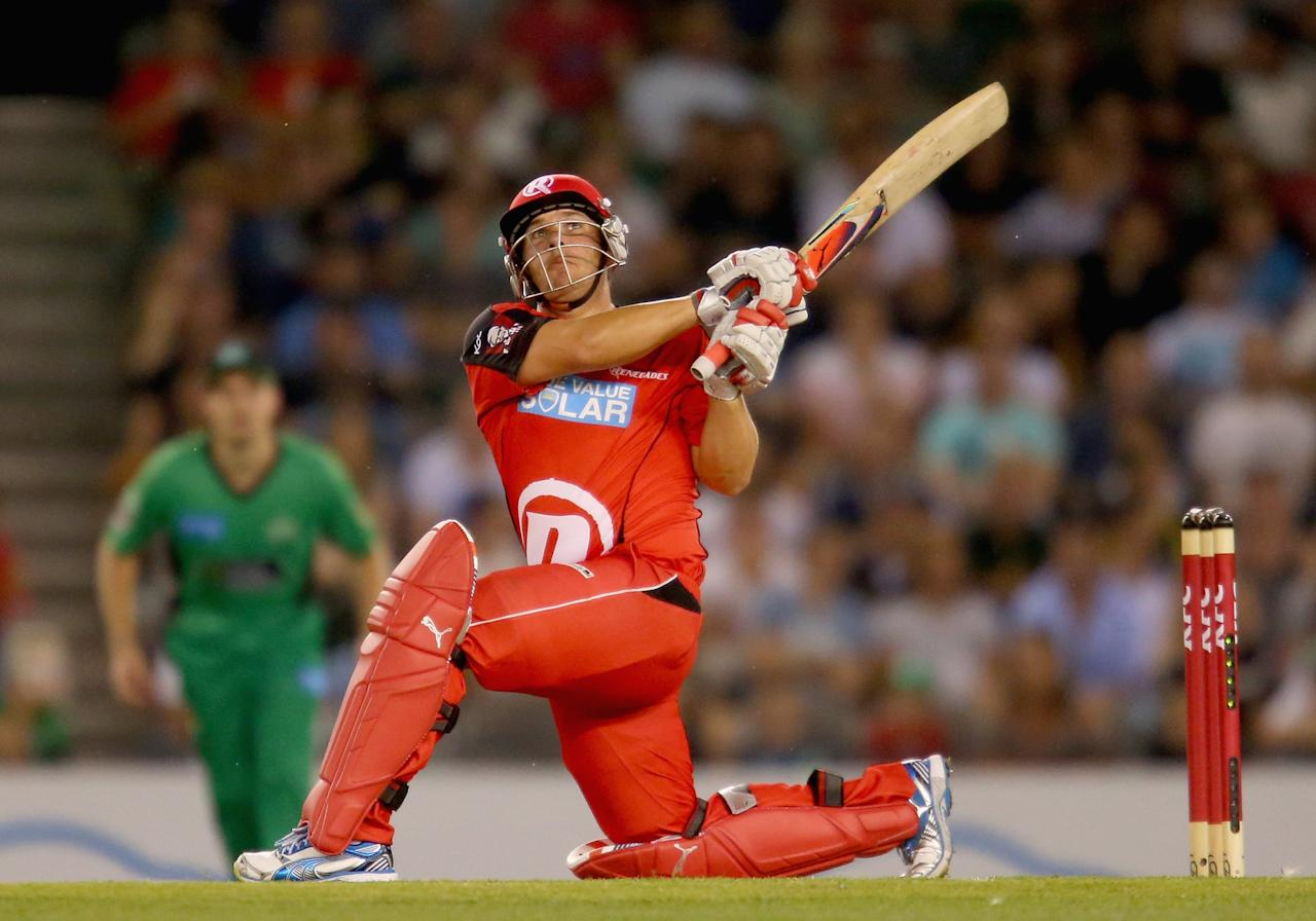 MELBOURNE, AUSTRALIA - DECEMBER 07:  Aaron Finch of the Renegades bats during the Big Bash League match between the Melbourne Renegades and the Melbourne Stars at Etihad Stadium on December 7, 2012 in Melbourne, Australia.  (Photo by Scott Barbour/Getty Images)