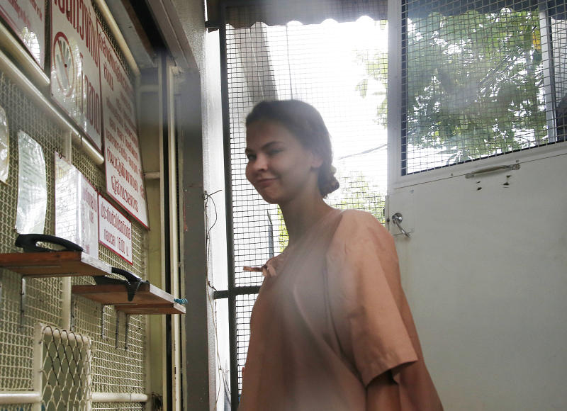Anastasia Vashukevich, arrives at the Pattaya Provincial Court in Chonburi province, Thailand, Monday, Aug. 20, 2018. Vashukevich, from Belarus, who claimed to have information linking Russian interference to the election of President Donald Trump says she no longer has the evidence and will not talk about it. On Monday she pleaded innocent as her trial in Thailand began on charges of soliciting and conspiracy to solicit. (AP Photo/Sakchai Lalit)