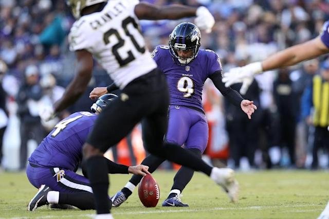 Heading into the game Ravens' kicker Justin Tucker was the most accurate kicker in NFL history in terms of field goal percentage (AFP Photo/Patrick Smith)