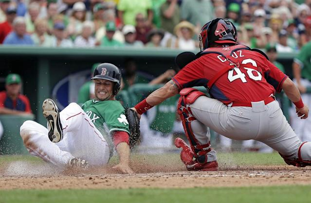Boston Red Sox Daniel Nava, left, is safe at the plate as he avoids the tag of St. Louis Cardinals catcher Tony Cruz (48) in the fifth inning inning of an exhibition baseball game in Fort Myers, Fla., Monday, March 17, 2014. (AP Photo/Gerald Herbert)