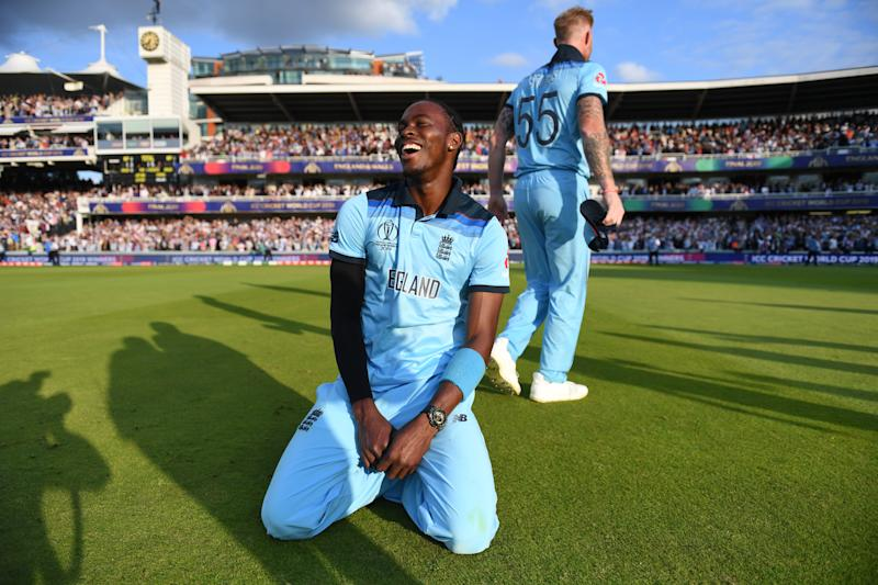 LONDON, ENGLAND - JULY 14: Jofra Archer of England and Ben Stokes of England celebrate after winning the Cricket World Cup during the Final of the ICC Cricket World Cup 2019 between New Zealand and England at Lord's Cricket Ground on July 14, 2019 in London, England. (Photo by Gareth Copley-IDI/IDI via Getty Images)
