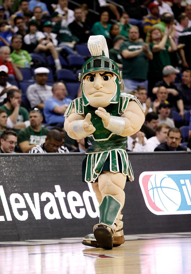 COLUMBUS, OH - MARCH 16: The Michigan State Spartans mascot walks on the court during a stoppage in play in the first half against the LIU Brooklyn Blackbirds during the second round of the 2012 NCAA Men's Basketball Tournament at Nationwide Arena on March 16, 2012 in Columbus, Ohio.  (Photo by Rob Carr/Getty Images)