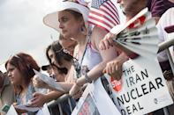 People attend a rally against the Iran nuclear deal in front of the Capitol in Washington, DC, on September 9, 2015 (AFP Photo/Nicholas Kamm)
