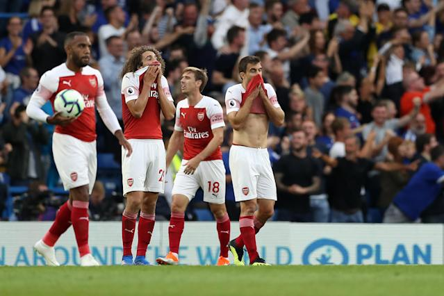 Arsenal lost 3-2 to Chelsea, and remains without a point after two Premier League games. (Getty)