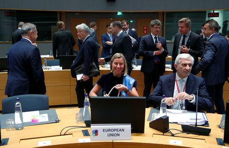 European Union High Representative for Foreign Affairs and Security Policy Federica Mogherini chairs an EU Eastern Partnership Foreign Ministers meeting in Brussels, Belgium, May 13, 2019. REUTERS/Francois Lenoir