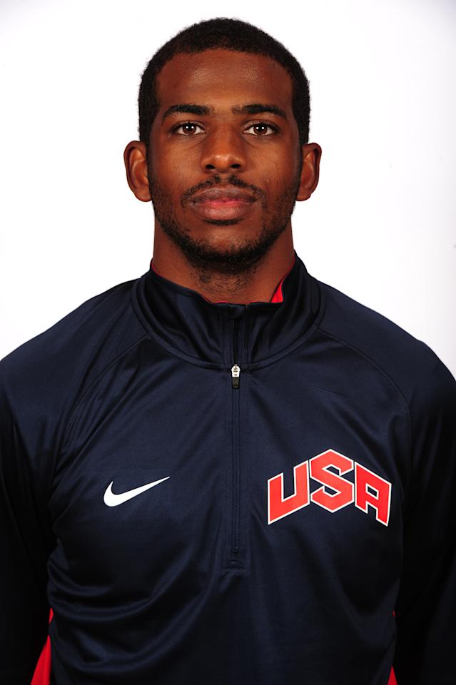 LAS VEGAS, NV - JULY 5: Chris Paul of the 2012 USA Basketball Men's National Team poses for a portrait at the Wynn Hotel during training camp on July 5, 2012 in Las Vegas, Nevada. NOTE TO USER: User expressly acknowledges and agrees that, by downloading and/or using this Photograph, user is consenting to the terms and conditions of the Getty Images License Agreement. Mandatory Copyright Notice: Copyright 2012 NBAE (Photo by Andrew D. Bernstein/NBAE via Getty Images)