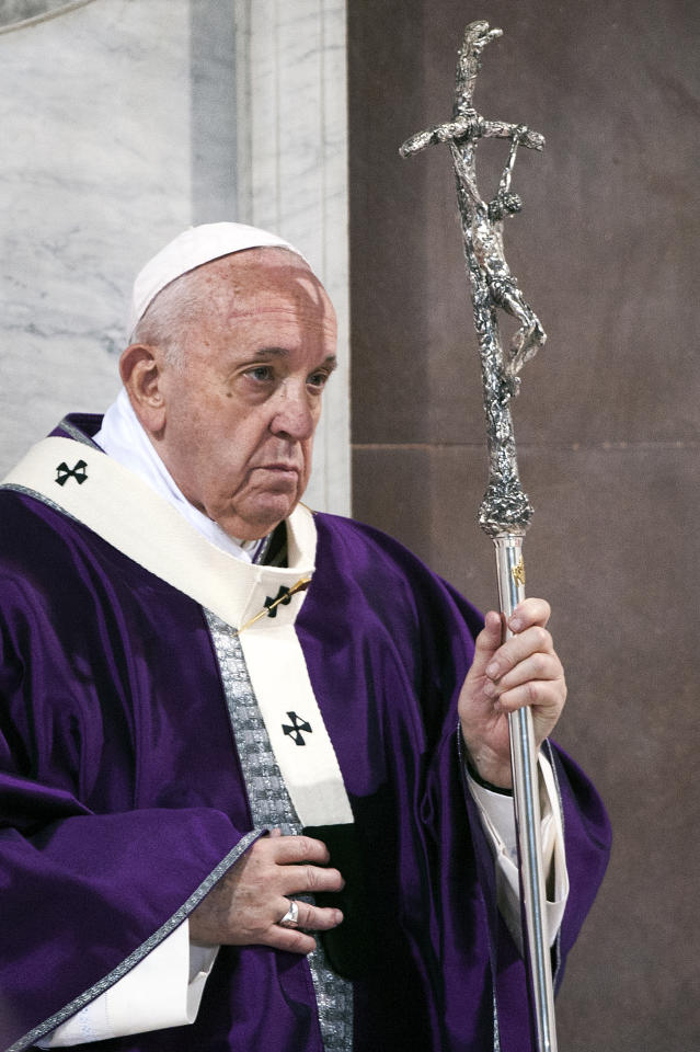 VATICAN CITY, VATICAN - FEBRUARY 26: Pope Francis leads the Ash Wednesday mass which opens Lent, the forty-day period of abstinence and deprivation for Christians before Holy Week and Easter, on February 26, 2020 in Vatican City, Vatican. (Photo by Vatican Pool - Corbis/Corbis via Getty Images)
