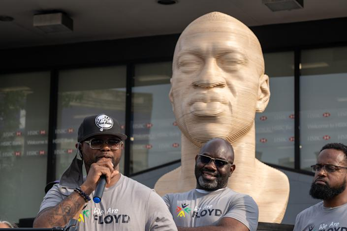 Terrance Floyd speaks at the unveiling of a statute dedicated to his brother George Floyd at Flatbush Junction on June 19, 2021, in the Brooklyn borough of New York City.