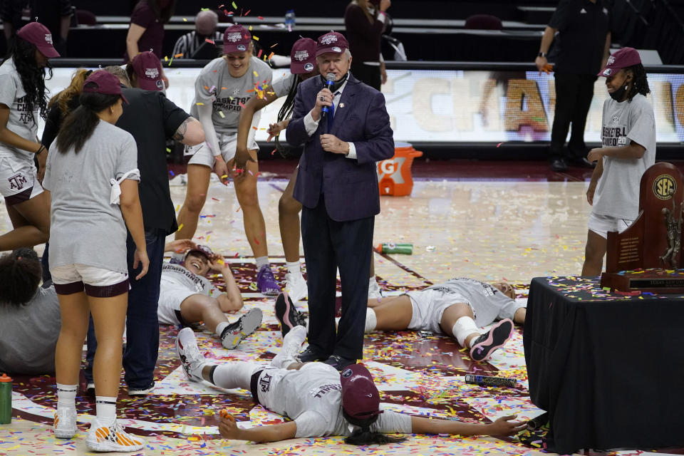 Texas A&M head coach Gary Blair talks to the crowd as his team reacts after a win over South Carolina in an NCAA college basketball game Sunday, Feb. 28, 2021, in College Station, Texas. (AP Photo/Sam Craft)