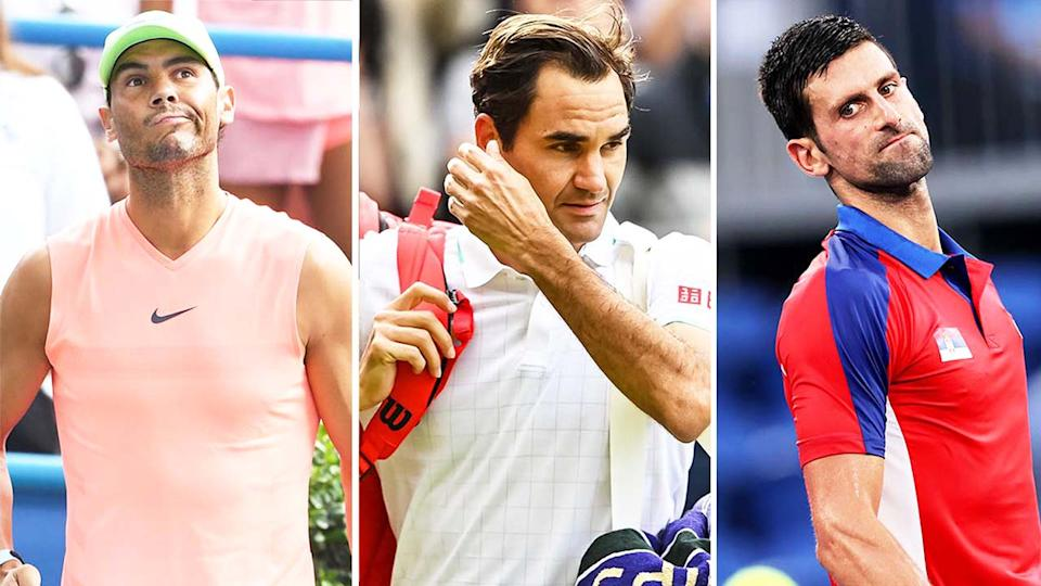 Roger Federer (pictured middle) after his Wimbledon loss, Rafael Nadal (pictured left) during practice and (pictured right) Novak Djokovic losing at the Olympics.
