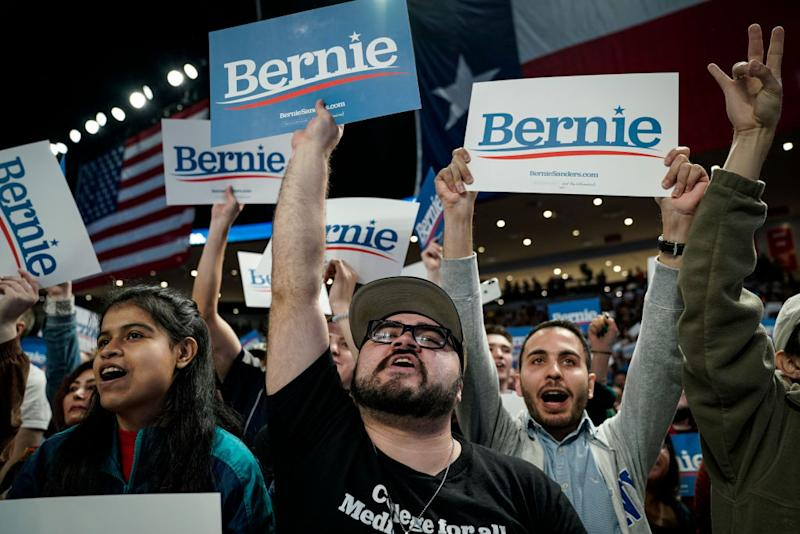 Supporters cheer as Bernie Sanders arrives for a campaign rally at the University of Houston on February 23. Source: Getty