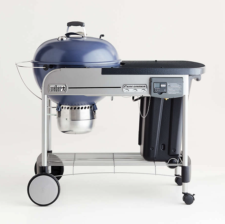 """<p><strong>Weber</strong></p><p>Crate and Barrel</p><p><strong>$459.00</strong></p><p><a href=""""https://go.redirectingat.com?id=74968X1596630&url=https%3A%2F%2Fwww.crateandbarrel.com%2Fweber-slate-blue-performer-deluxe-charcoal-grill%2Fs515068%3Flocaledetail%3DUS%26a%3D1552%26campaignid%3D1494332323%26adgroupid%3D60258618120%26targetid%3Dpla-301256292691%26pla_sku%3D515068%26pcat%3DHSW%26ag%3Dadult%26scid%3Dscplp515068%26sc_intid%3D515068%26gclid%3DCjwKCAjw_JuGBhBkEiwA1xmbRfHHIuhdE5d1q6pjqkOTd8D25U3hCyp50qroPmdRaRuEwbL20qyYEBoCCw4QAvD_BwE&sref=https%3A%2F%2Fwww.oprahdaily.com%2Fstyle%2Fg36728116%2Fbest-grills%2F"""" rel=""""nofollow noopener"""" target=""""_blank"""" data-ylk=""""slk:Shop Now"""" class=""""link rapid-noclick-resp"""">Shop Now</a></p><p>This design brings you the ease of using gas with the deliciousness of cooking with charcoal. The electronic gas ignition system lights charcoal with the quick push of a button.</p>"""