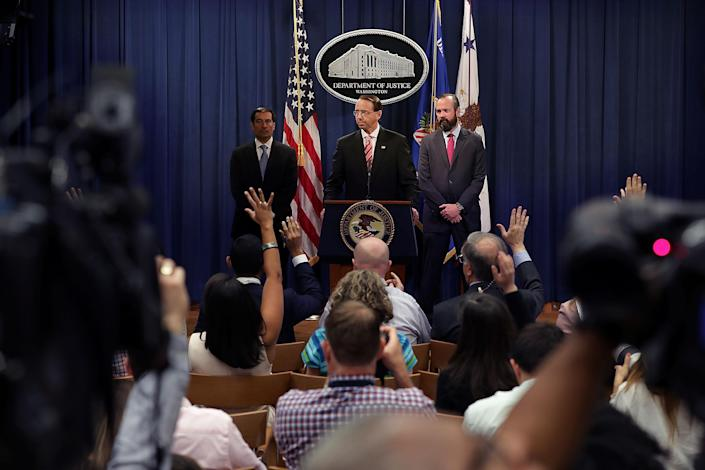 """<span class=""""s1"""">Deputy Attorney General Rod Rosenstein, center, at the news conference Friday. (Photo: Chip Somodevilla/Getty Images)</span>"""