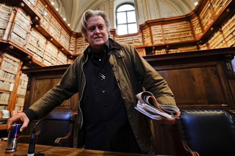 Former White House strategist Steve Bannon arrives to deliver a speech at Rome's Angelica Library, March 21, 2019. (Photo: Gregorio Borgia/AP)