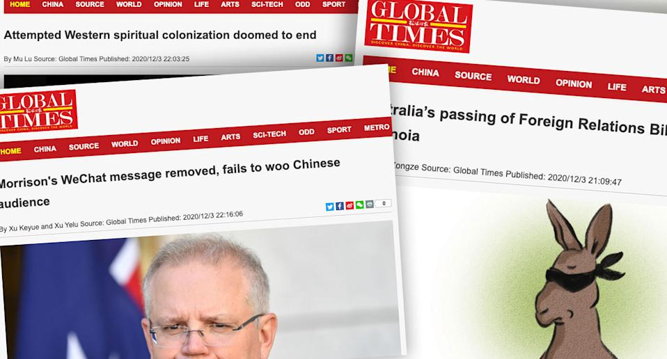 The Global Times has continued its relentless attack on Australia. Source: The Global Times