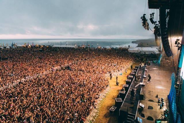 Festivalgoers during the Boardmasters music and surfing festival in Cornwall