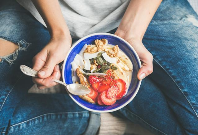 "<p>Listen to your body. If you had a large lunch and still feel full by dinnertime, do you really need a full meal? But make sure not to skip breakfast, as <a href=""https://www.ncbi.nlm.nih.gov/pubmed/16129078"" rel=""nofollow noopener"" target=""_blank"" data-ylk=""slk:research"" class=""link rapid-noclick-resp"">research</a> suggests that skipping the ""most important meal of the day"" can lead to weight gain — especially in women. <em>[Photo: Getty]</em> </p>"