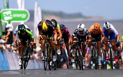 print / Arrival / Jolien DHoore of Belgium and Team Mitchelton-Scott / Celebration / Marta Bastianelli of Italy and Team Ale Cipollini / Coryn Rivera of The United States and Team Sunweb / during the 5th OVO Energy Women's Tour 2018, Stage 1 a 130km stage from Framlingham to Southwold on June 13, 2018 in Southwold, England.  - Credit: getty images
