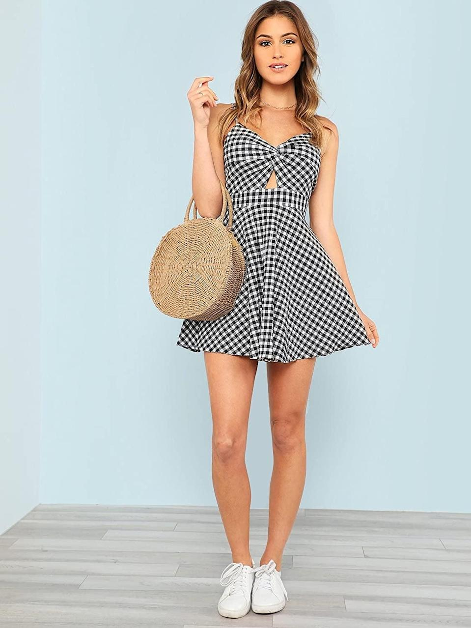 <p>This versatile <span>Floerns Twist Front Knot Skater Dress</span> ($27) will quickly become a favorite. If you like gingham prints, then this one's ready to be packed on your next vacation.</p>