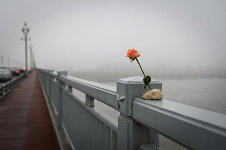 A flower placed on the Nanjing Bridge, which spans the Yangtze river, in Nanjing in China's Jiangsu province