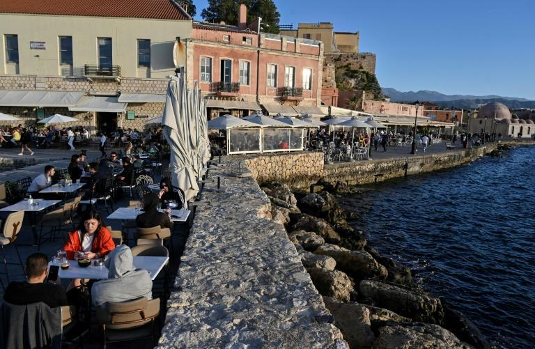 Tourists are beginning to return to the old town of Chania in the northwest of Crete