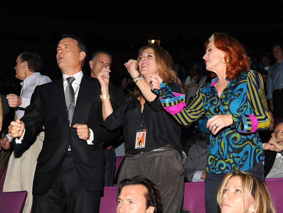 Hanks and Wilson at the 25th Anniversary Rock & Roll Hall of Fame Concert at Madison Square Garden in 2009. (Photo: Kevin Mazur/WireImage)
