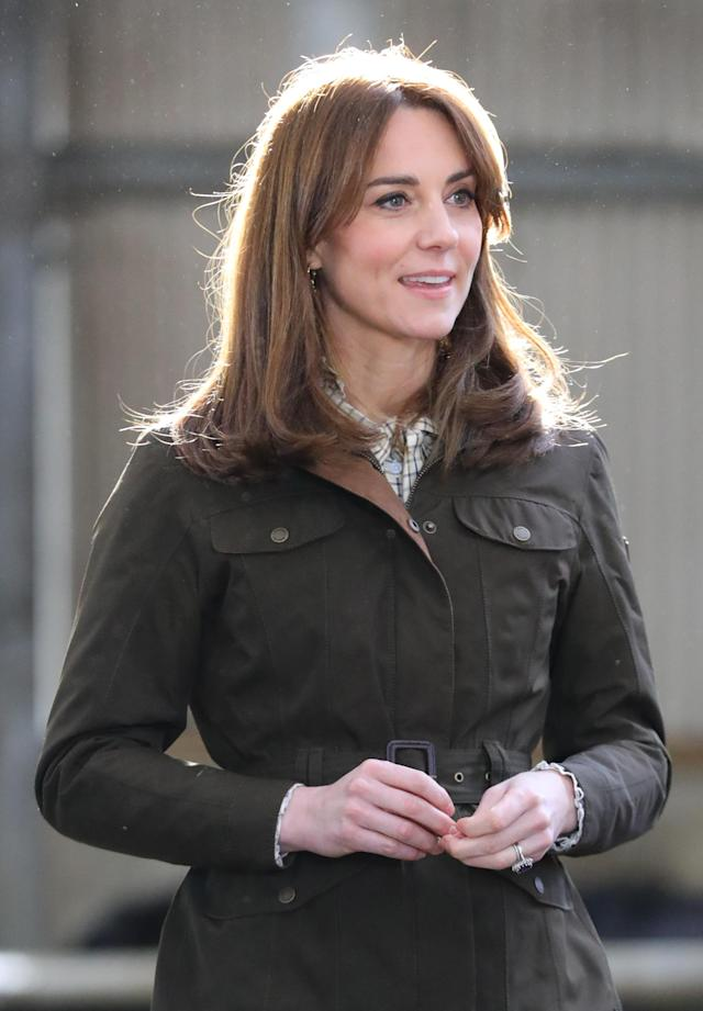 The Duchess of Cambridge wore a Barbour x Alexa Chung blouse. (PA Images)