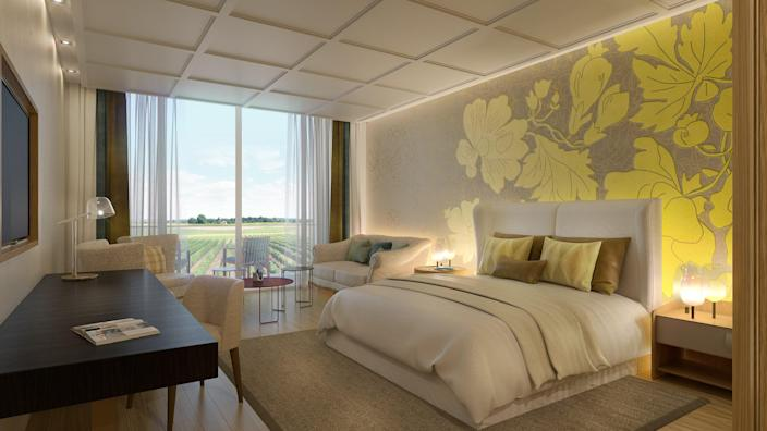 """Champagne's first hotel specifically dedicated to wellness will open its doors on July 1, with 49 rooms and suites, and a 16,000 square-foot spa and restaurant under the helm of the two-star Michelin Chef, Jean-Denis Rieubland. The Relais & Châteaux property is in an original 19th-century post house, with interiors created by designer Sybille de Margerie (whose firm also did the Mandarin Oriental in Paris). The core of the hotel is the wellness center that is a partnership with Biologique Recherche; it features a wood-lined yoga studio and a hammam. The 1150-square-foot Suite Joséphine has stunning views of the vineyards that stripe the hills of Épernay. <a href=""""https://www.royalchampagne.com/en/"""" rel=""""nofollow noopener"""" target=""""_blank"""" data-ylk=""""slk:royalchampagne.com"""" class=""""link rapid-noclick-resp"""">royalchampagne.com</a>"""