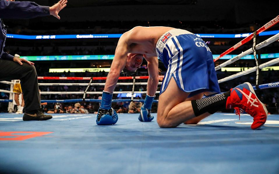 Luke Campbell kneels on the canvas after a body shot by Ryan Garcia during the WBC Interim Lightweight Title fight at American Airlines Center on January 02, 2021 in Dallas, Texas - Getty Images North America/Tim Warner