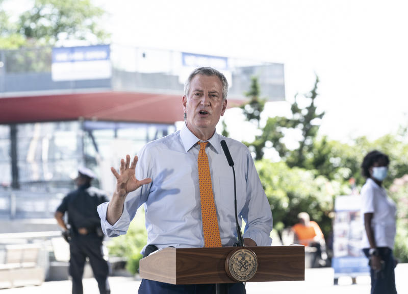 NEW YORK, UNITED STATES - 2020/08/03: Mayor Bill de Blasio speaks at press conference at the South Street Seaport about city preparation for tropical storm Isaias. There is prediction that Isaias will bring gusts of winds that could blow at 60 mph and up to 6 inches of rain and sea surge of 1 to 3 feet in the city. (Photo by Lev Radin/Pacific Press/LightRocket via Getty Images)
