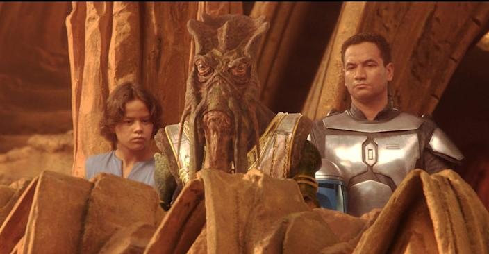Temuera Morrison, who later plays Boba Fett in The Mandalorian, played his father Jango Fett first in Attack of the Clones