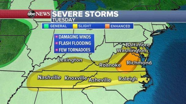 Severe storms are expected across much of the Tennessee Valley and Mid-Atlantic regions. (ABC News)