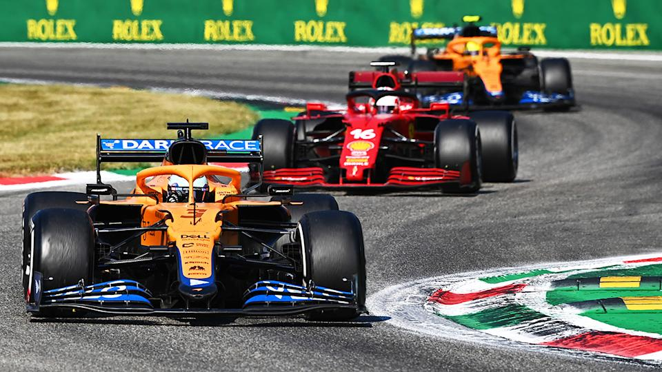 Daniel Ricciardo, Charles Leclerc and Lando Norris, pictured here in action during the Italian Grand Prix.